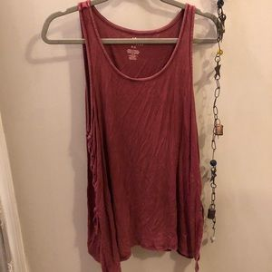 AE maroon ribbed tank with tie sides